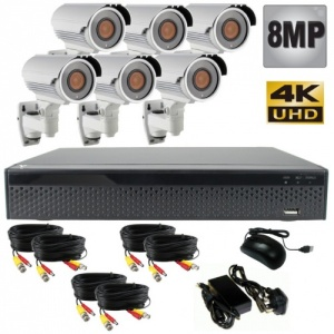 8mp Security Camera System with 6 x 60m Night Vision Cameras