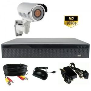3Mp Single Camera CCTV Kit with White Varifocal Camera