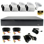 Night vision 3mp bullet camera cctv system white - 1080p