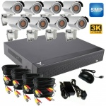 5mp CCTV Kit with 8 x 40m Ir Varifocal Bullet Cameras