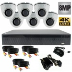 8Mp Dome Camera CCTV System with six Cameras - 1080p