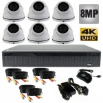 8mp Varifocal Dome CCTV System with 6 Cameras - 1080p